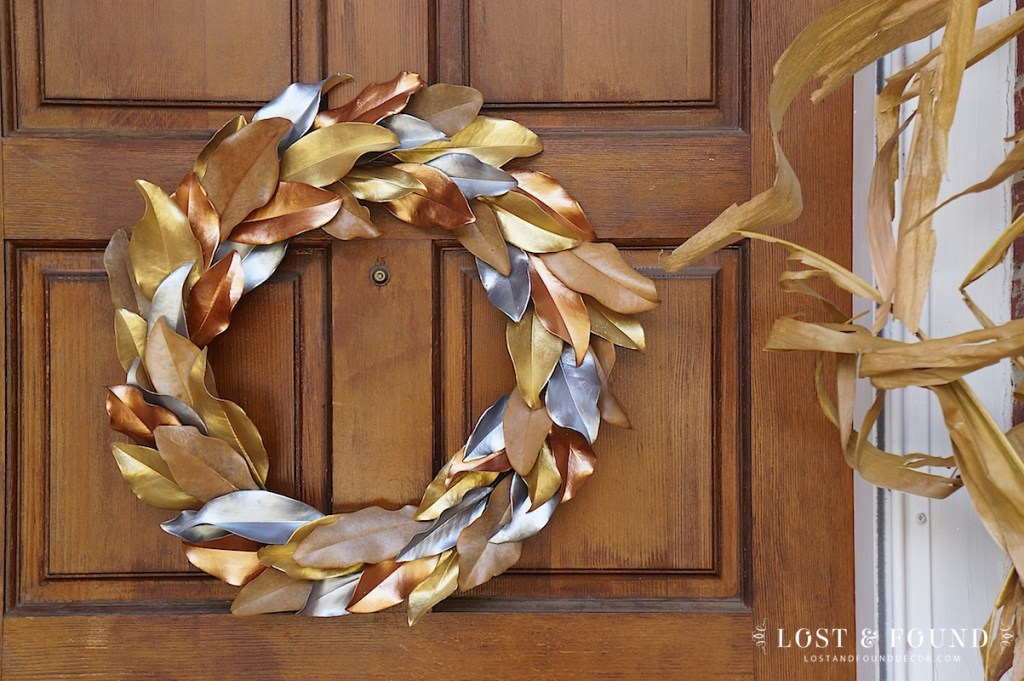 Metallic Painted Magnolia Leaf Wreath using Fusion Studio Metallics