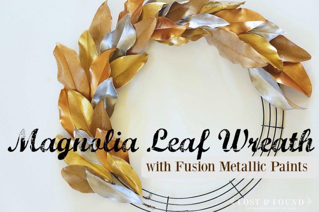 How to embellish a magnolia leaf wreath using Fusion metallic paint