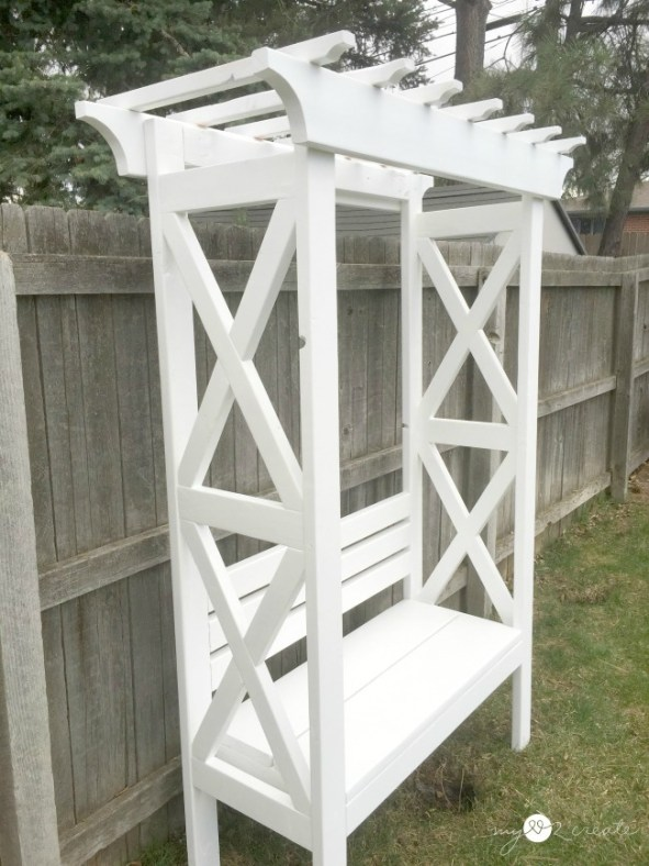 x arbor bench side view, MyLove2Create
