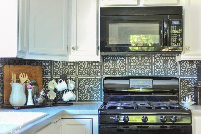 Stencil Tile Backsplash Part - 28: Kitchen-makeover-faux-patterned-tiles-2