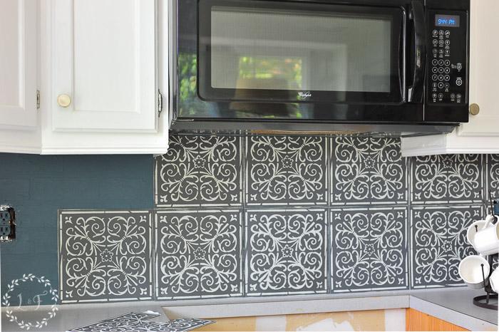 Wonderful Stencil Tile Backsplash Part - 13: Kitchen-tile-stencil-makeover-in-progress