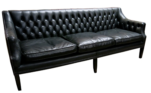 vintage black leather tufted sofa with silver studs bk