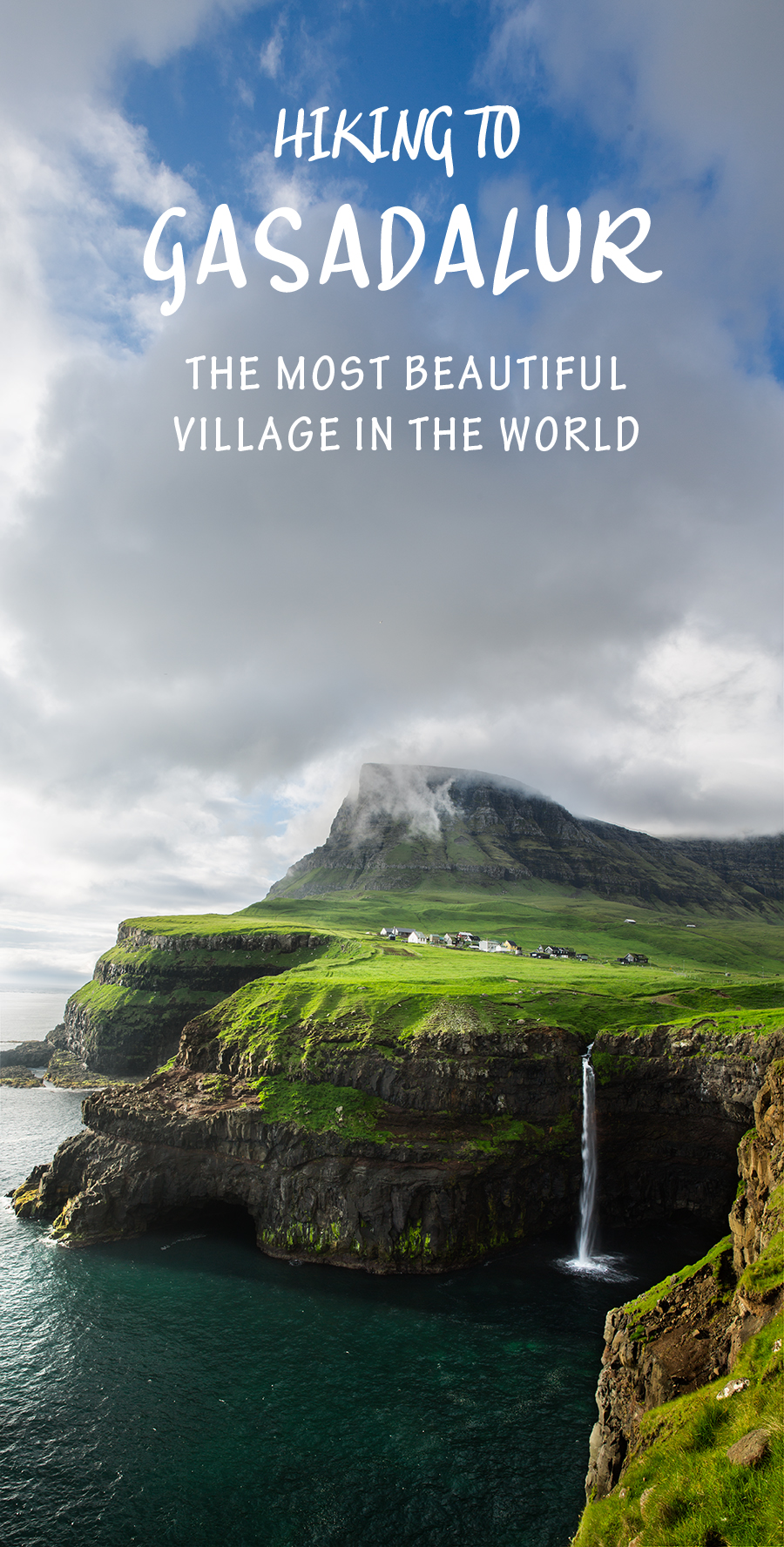 This hike to Gasadalur, Faroe Islands, has some of the most amazing views and the most stunning village I've seen.