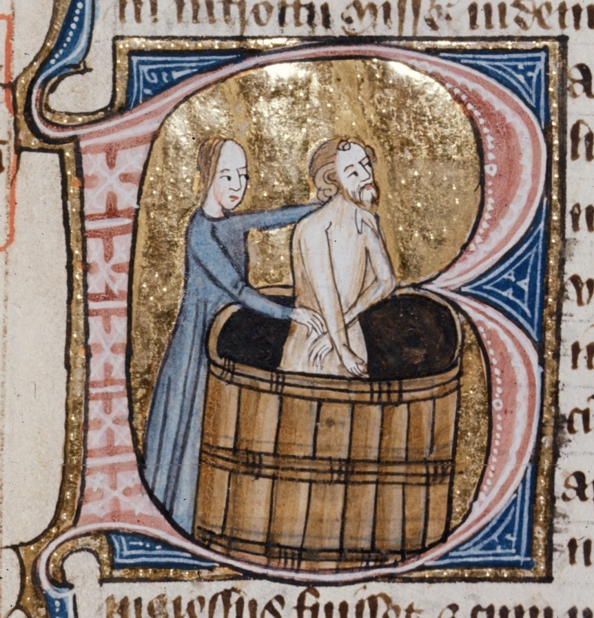 Medieval Bathing in a wooden tab