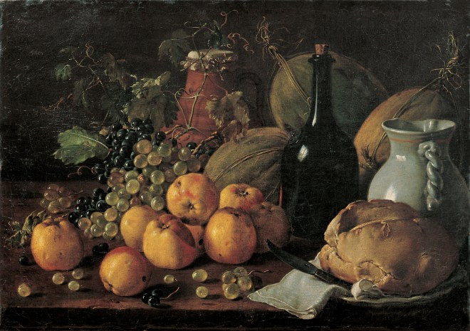 Fantasy world economics: Luis Meléndez (1716–1780), Still Life with Apples, Grapes, Melons, Bread, Jug and Bottle