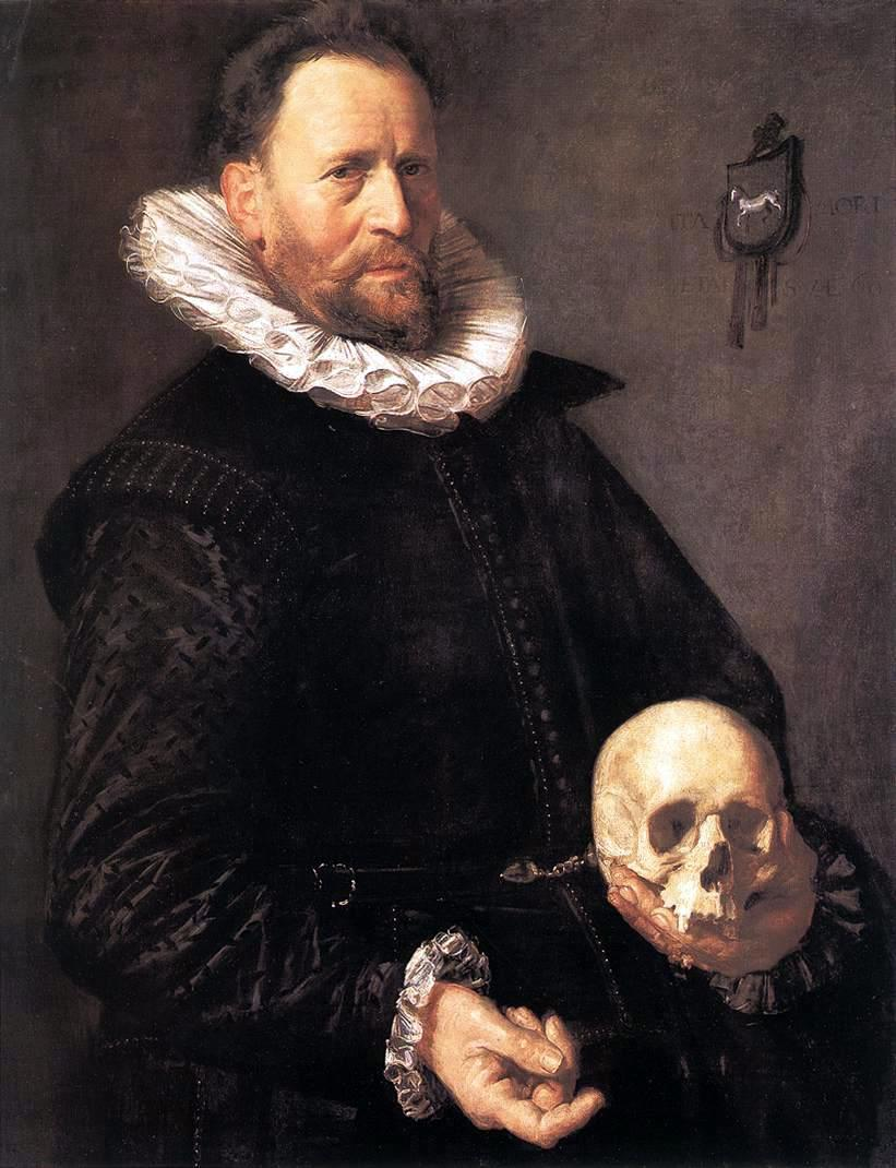 "Frans Hals, A man holding a skull ""Look at my shiny shiny collar and cuffs"""