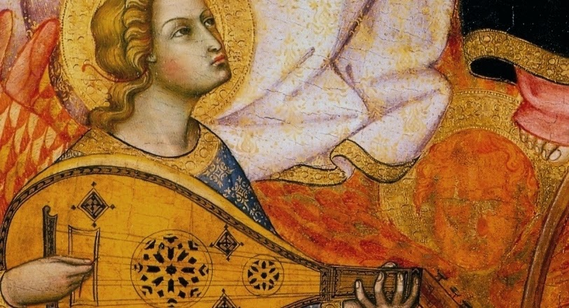 "Close up of ""Coronation of the Virgin"" by Andrea Di Bartolo. Bard in details"