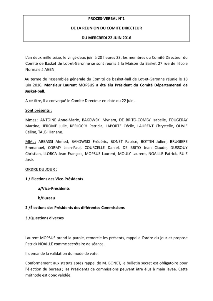 thumbnail of PV de Comité Directeur – 22 juin 2016