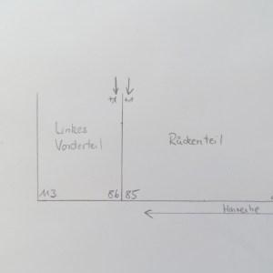 Zunahmen für Ärmelnaht Linkes Vorderteil