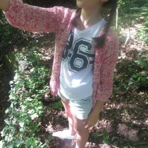 Mädchen Strickjacke pink Selfie