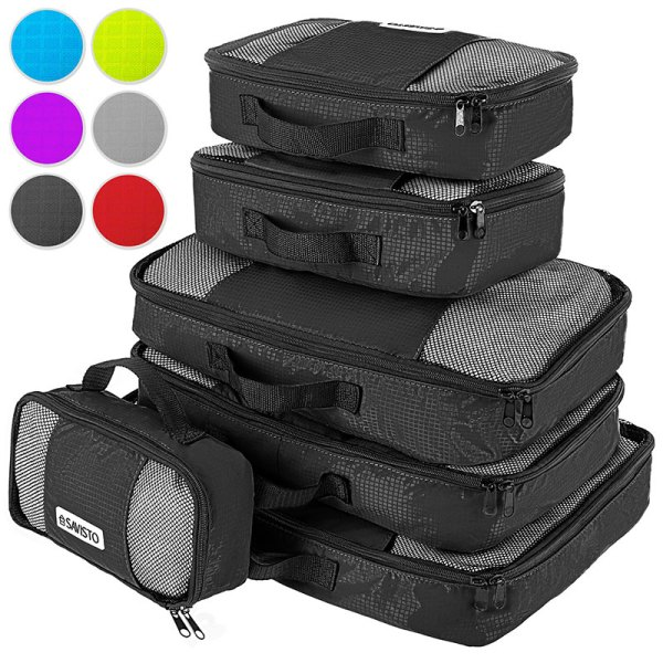Savisto Packing Cubes 6 Set Luggage Organiser Travel ...