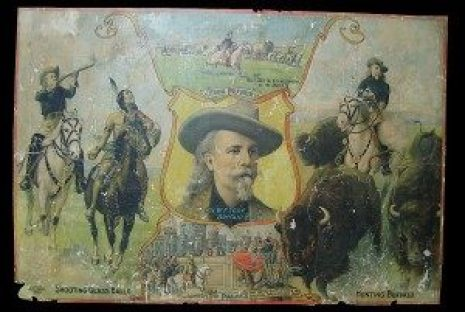 "restoration before and after 19th Century poster advertising Buffalo Bill Cody's ""Wild West"" Show"