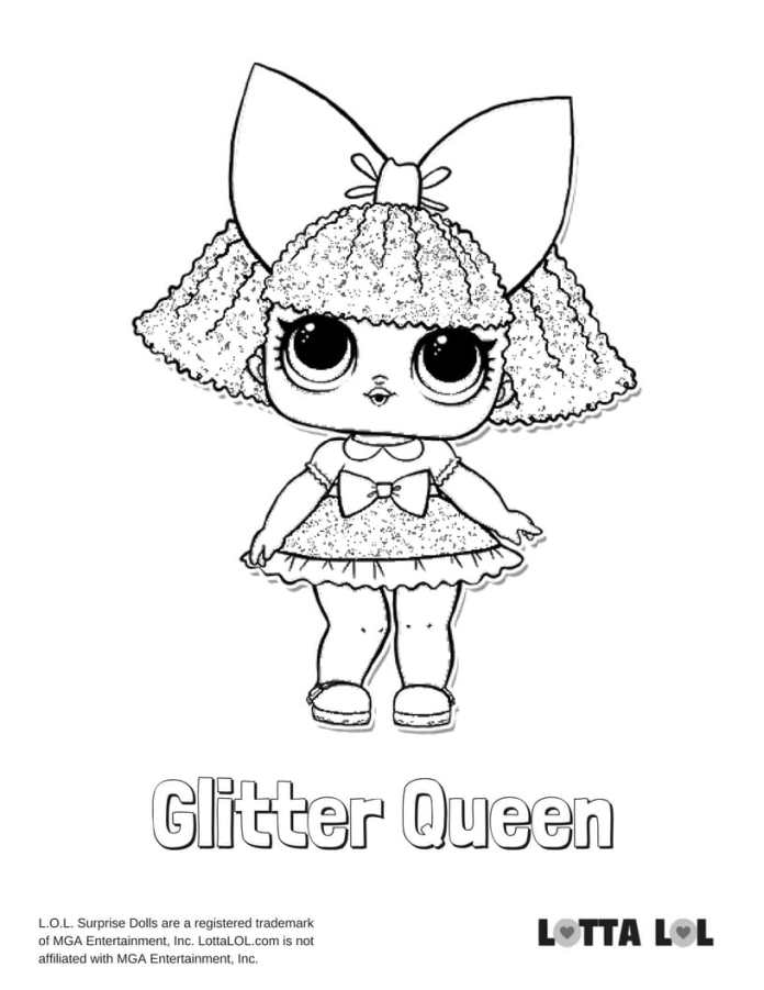 Glitter Queen LOL Coloring Page