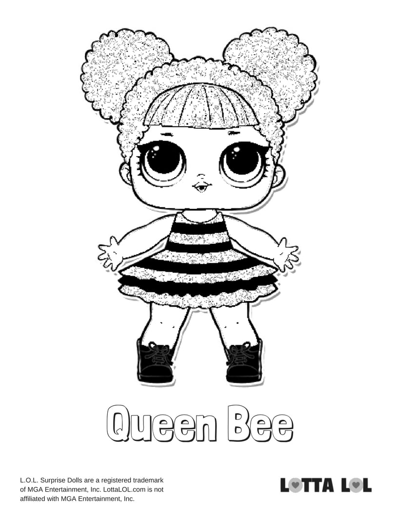 Queen Bee Lol Surprise Doll Coloring Page Lotta Lol