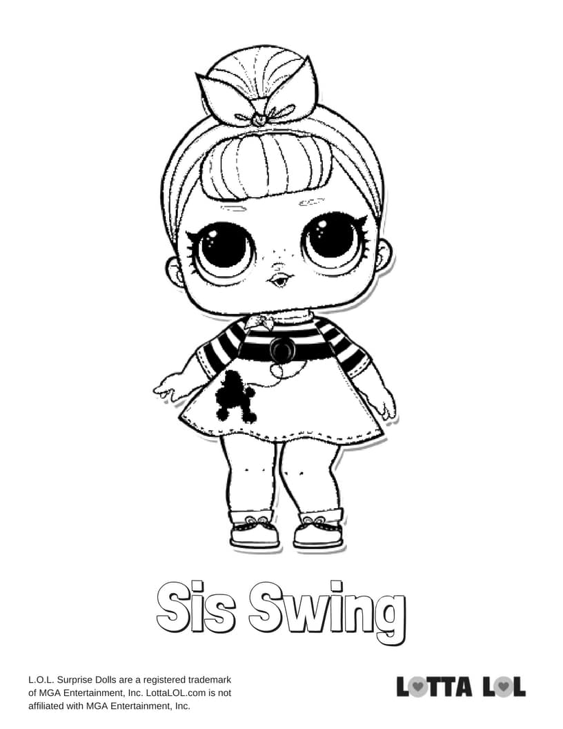 Sis Swing Lol Surprise Doll Coloring Page Lotta Lol