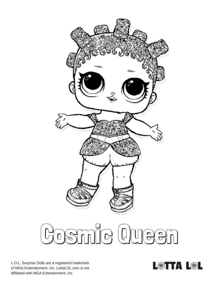 Cosmic Queen Glitter LOL Coloring