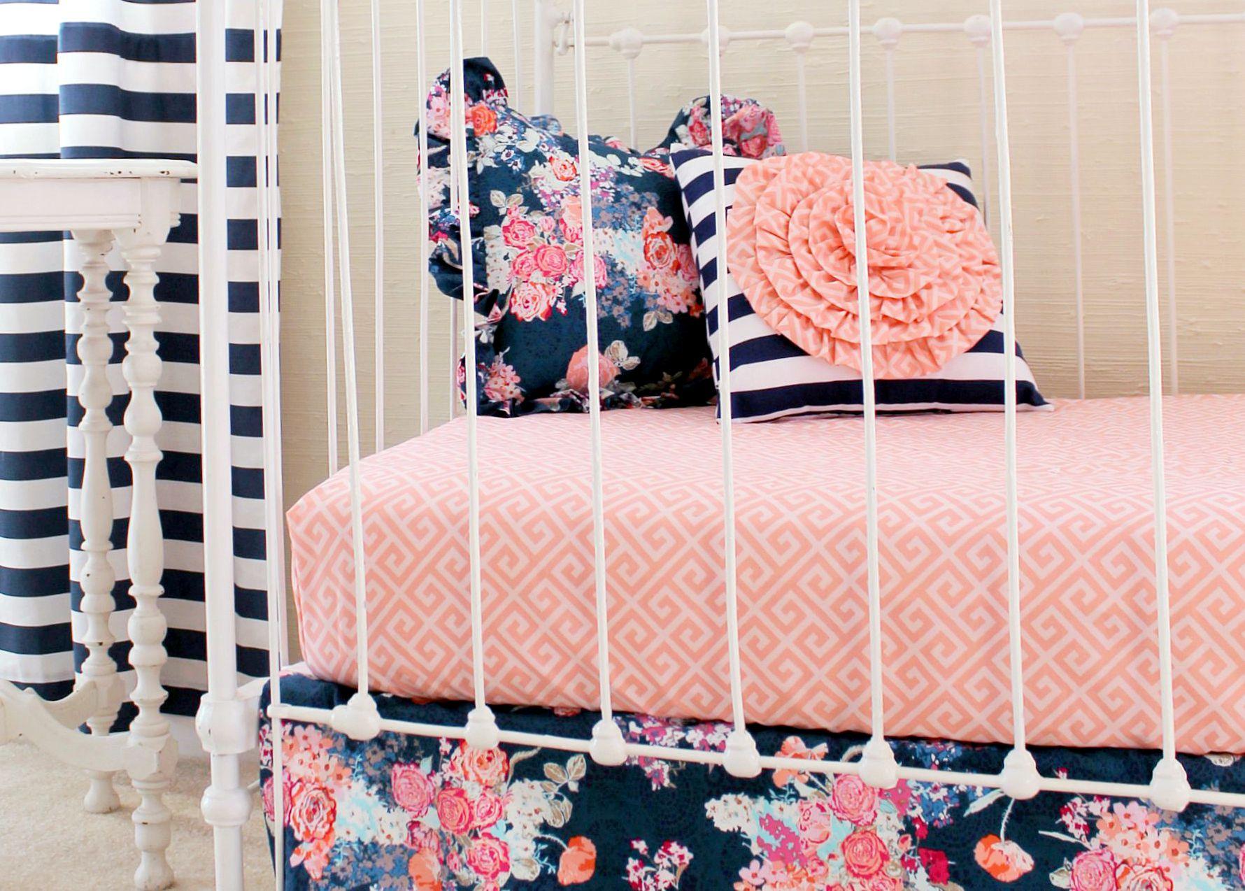 Navy Coral Crib Bedding Set Navy Floral Coral Bumperless