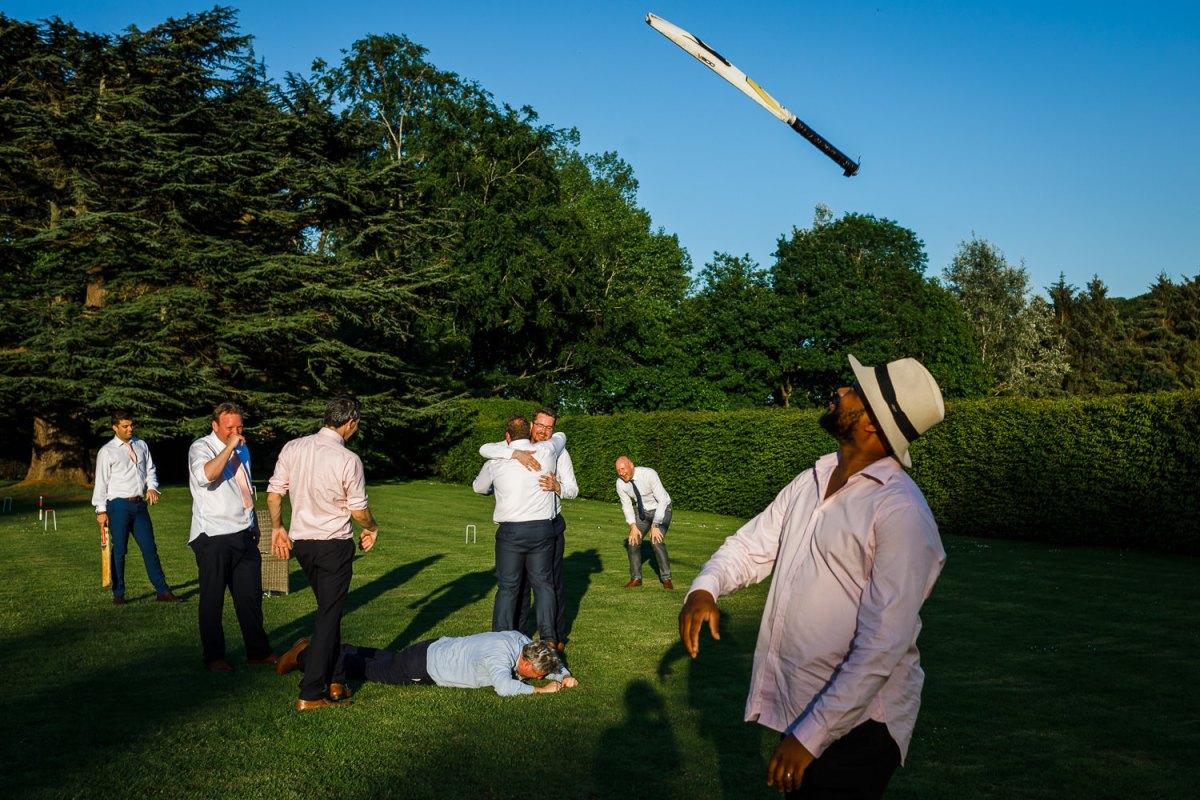 Garden games and cricket at a wedding