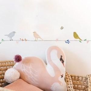 Wandsticker - Blumen & Vögel