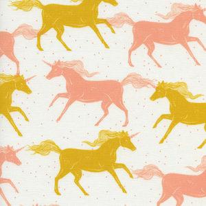 Cotton&Steel Magic Forest - Unicorns Yellow