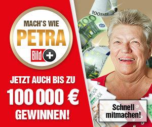 BILD-Plus Teaser mit Petra, die 100.000€ gewonnen hat