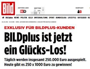 BILDplus ist jetzt ein Glückslos - Screenshot bild.de