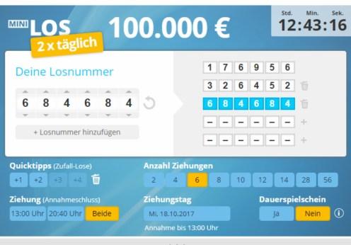 MiniLos Spielschein Screenshot