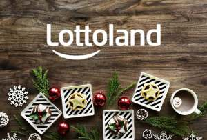 Logo Lottoland mit Weihnachtsdekoration