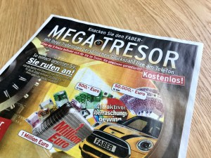 Knacken Sie den FABER Mega-Tresor Werbeblatt