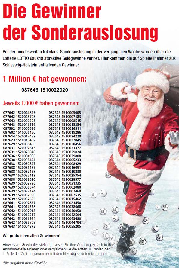 Lotto SH Ziehungsliste Nikolaus Sonderverlosung 2018