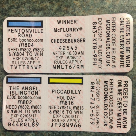 McDonald's Monopoly - tips and tricks from an ex Maccie D's