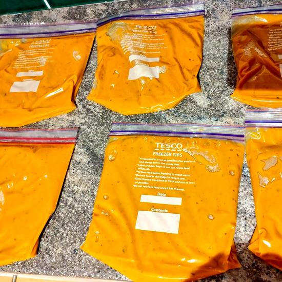 bags of chicken tikka sauce base gravy