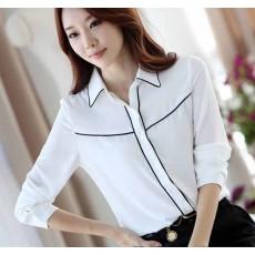 เสื้อเชิ้ต แฟชั่นเกาหลีชีฟองแขนยาวสวยใหม่ นำเข้า ไซส์Sถึง2XL สีขาว - พรีออเดอร์BM2538 ราคา1050บาท