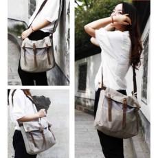 กระเป๋าสะพายข้าง แฟชั่นเกาหลีผ้าคานวาสใบใหญ่เที่ยวเดินทางใช้ได้ทั้งชายหญิง นำเข้า สีเทา - พร้อมส่งIS1013 ราคา670บาท