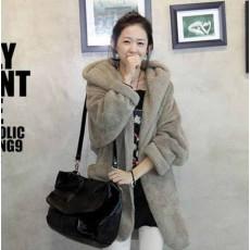 เสื้อโค้ทกันหนาว แฟชั่นเกาหลีขนนุ่มมีฮู้ด นำเข้า ฟรีไซส์ สีเทา - พร้อมส่งTJ7108 ราคา1190บาท