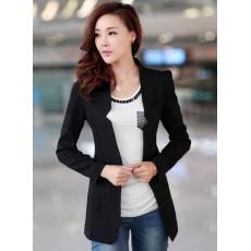 เสื้อสูท แฟชั่นเกาหลีผู้หญิงแขนยาวทรงสวยใหม่ นำเข้า สีดำ ไซส์LและXL - พร้อมส่งTJ7149 ราคา1250บาท