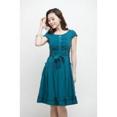 ชุดแซก ผ้าคอตตอนผสมใส่สบายทรงสวยเอวผูกโบว์น่ารัก นำเข้า สีฟ้า - พร้อมส่งTJ7213 ราคา1150บาท
