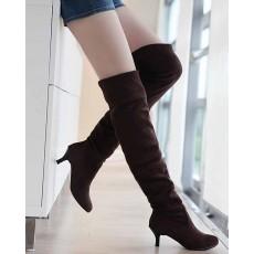 รองเท้าบูทยาว หนังกลับส้นสูงแฟชั่นเกาหลี นำเข้า ไซส์34ถึง43 สีน้ำตาล - พรีออเดอร์RB2264 ราคา1650บาท