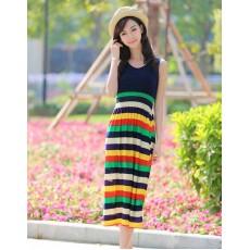 ชุดยาว แฟชั่นเกาหลีสวยแขนกุดผ้านุ่มเอวยืดลายขวาง นำเข้า ฟรีไซส์ - พร้อมส่งTJ7265 ราคา595บาท