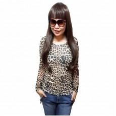 เสื้อยืดแขนยาว แฟชั่นเกาหลีผู้หญิงลายเสือดาวน่ารักใส่สวยแน่นอน นำเข้า ฟรีไซส์ - พร้อมส่งTJ7473 ราคา450บาท