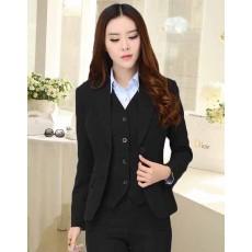 เสื้อสูทผู้หญิง แฟชั่นเกาหลีพร้อมเสื้อกั๊กตัวในแยก2ชิ้นเรียบหรู นำเข้าไซส์L สีดำ - พร้อมส่งTJ7512 ราคา1100บาท