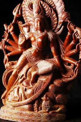 Red Marble Durga Statue