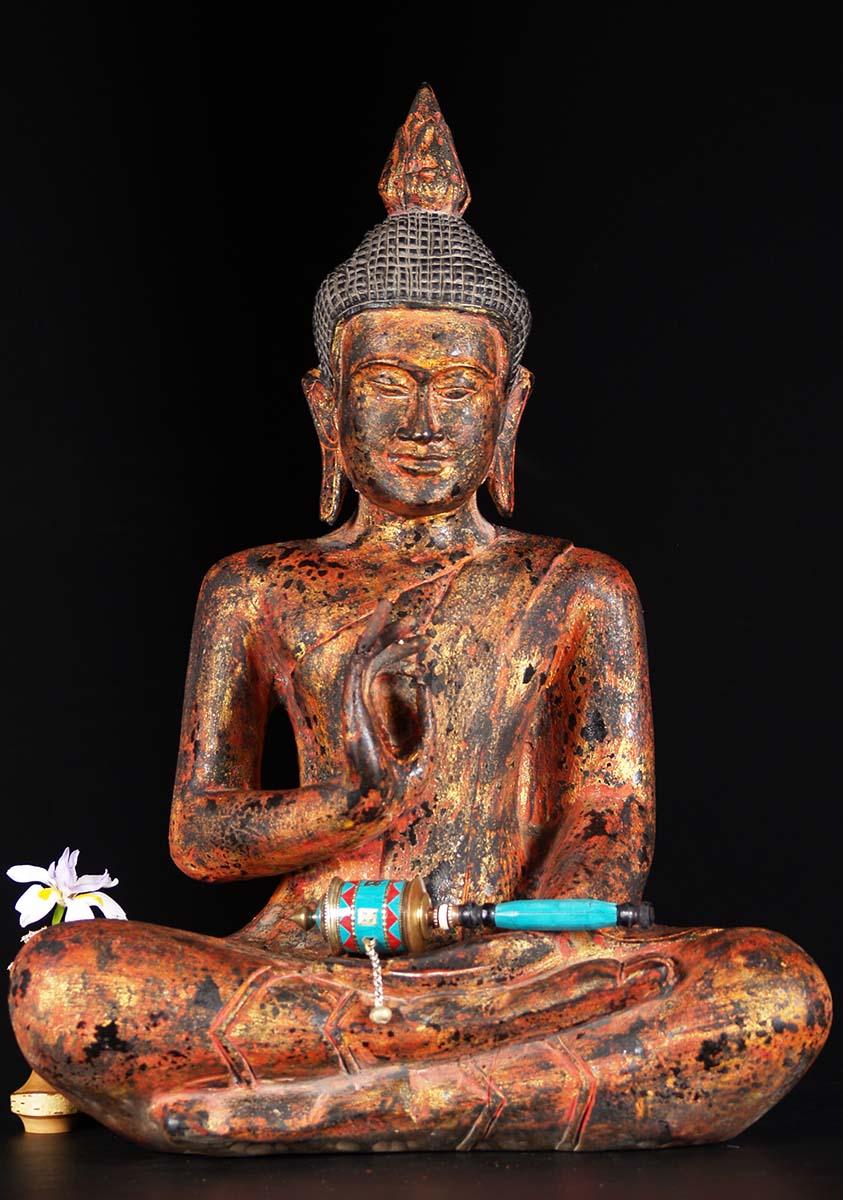 Sold Wood Cambodian Teaching Buddha Statue 27 Quot 84w3