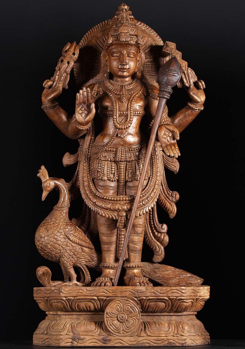 Sold Wood Murugan Peacock Statue 36 Quot 76w2d Hindu Gods