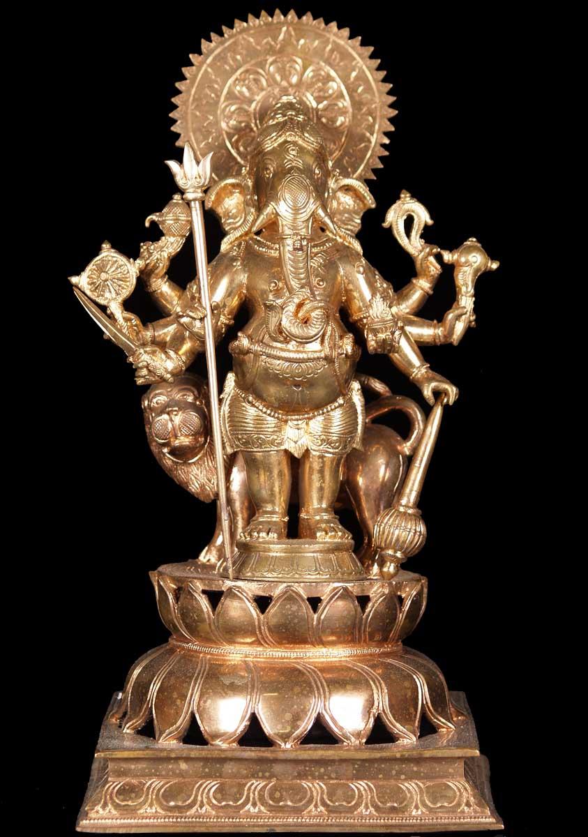 Sold Kanadrishta Ganapathi Ganesh With Lion 12 Quot 60b68