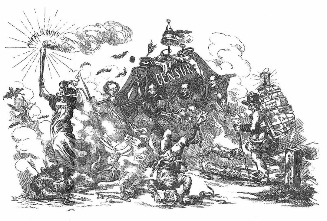 """Karikatur """"Triumph über die Censur"""" (Illustration zu Uploadfilter)"""