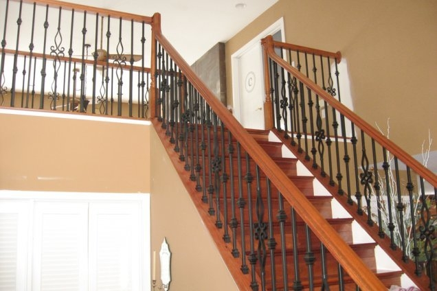 Renovations Loudoun Stairs | Installing Newel Post And Spindles | Stair Parts | Staircase | Stair Banister | Iron Stair | Wrought Iron Spindles