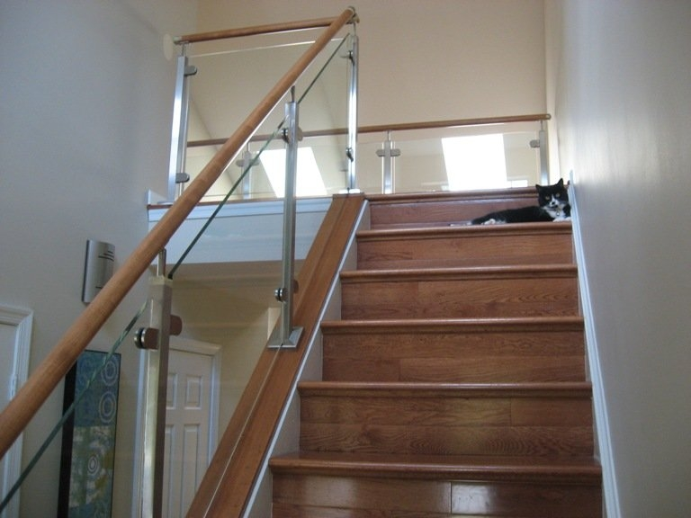 Glass Rail Loudoun Stairs | Wooden Stair Railing With Glass | Custom | Balcony Wooden | Detail | Oak | Wood Treads