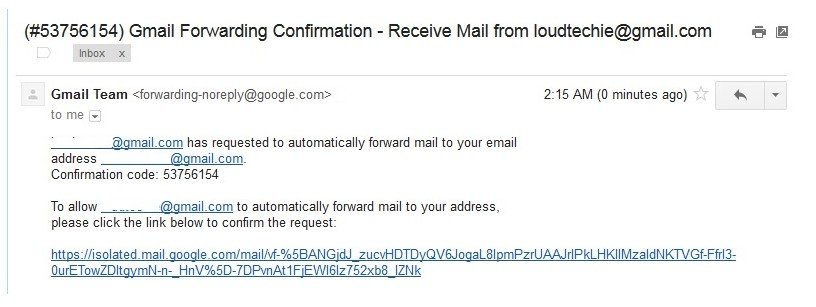 confirmation link from Gmail