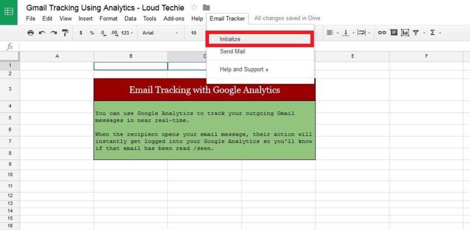 Google sheet Initialize option